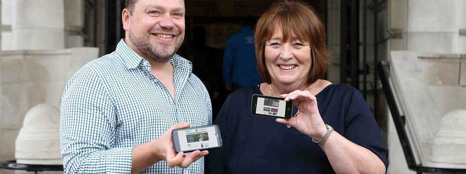 James Knox, MAP Project Co-ordinator and Jean Winter, MAP Chairperson at the launch of our website at Belfast City Hall